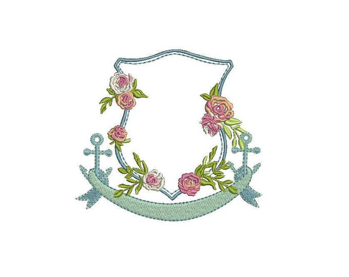 Anchor Rose Crest Machine Embroidery File design 4x4 inch hoop - Monogram Frame