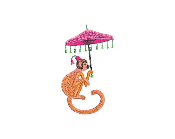 Monkey Umbrella Machine Embroidery File design - 4x4 inch hoop - Chinoiserie Chic - Instant Download