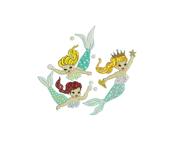 Mermaid Embroidery Design - Vintage Three Mermaids Machine Embroidery File design -  20cm x 20cm hoop - instant download