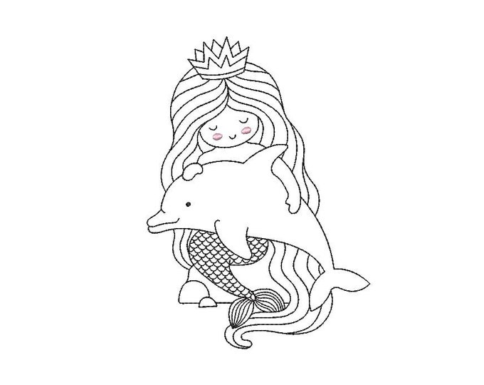 Mermaid And Dolphin Machine Embroidery File design 5x7 hoop - Redwork