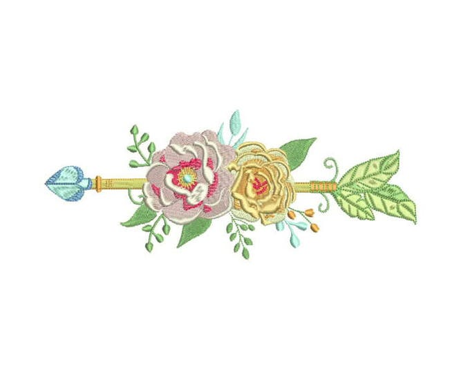 Boho Flower Arrow Machine Embroidery File design 8x12 inch hoop
