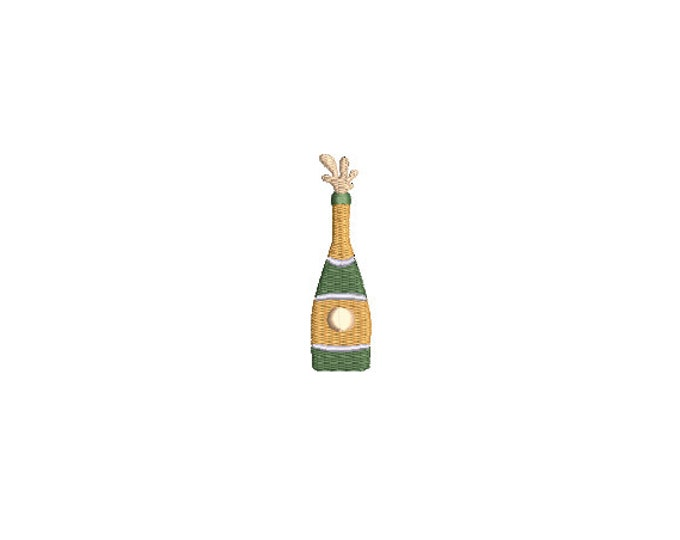 Champagne Bottle - Machine Embroidery File design  - 4x4 hoop - Mini embroidery