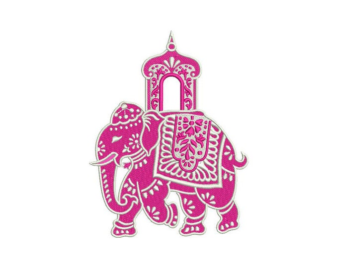 Chinoiserie Chic Monogram Elephant Machine Embroidery File design 5x7 hoop