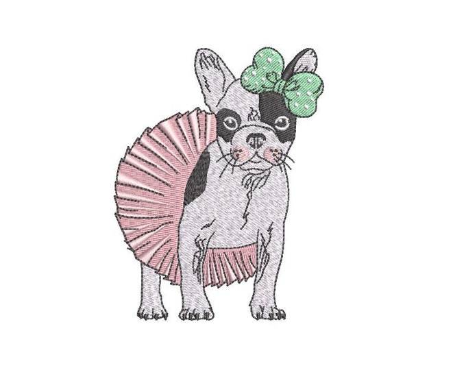 French Bulldog -  Ballerina -  Machine Embroidery File design  - 4x4 inch hoop - Frenchie Embroidery