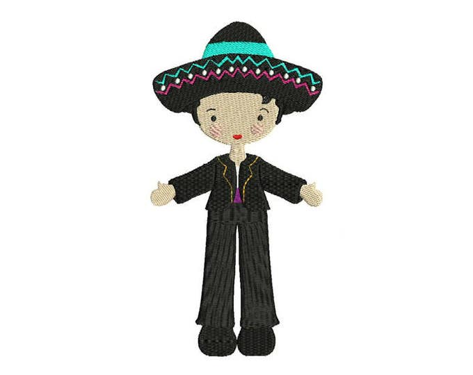 Mexican Folksy Boy Black Suit Machine Embroidery File design 5 x 7 inch hoop - instant download