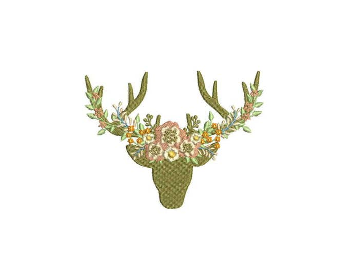Boho Whimsical Deer Antlers With Peachy Flowers Bohemian Machine Embroidery File design 5x7 hoop