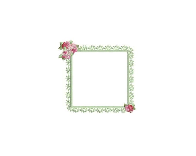 Rose Lace Frame Machine Embroidery File design 4x4 inch hoop - Monogram Frame