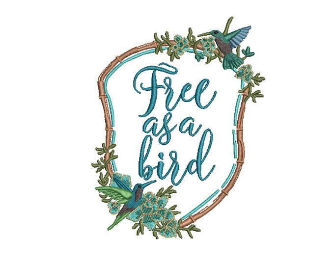 Free As A Bird Crest - Machine Embroidery File design - 5x7 inch hoop - Monogram Frame - Embroidery