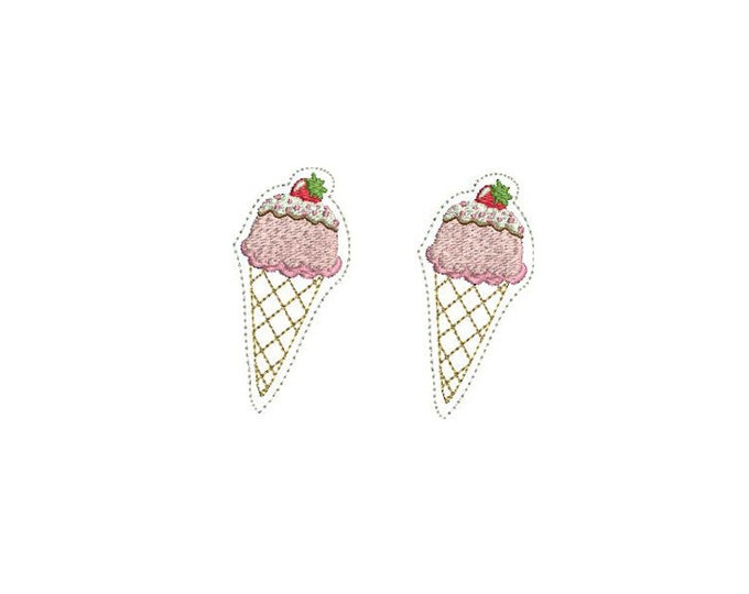 Whimsical - Kawaii - Strawberry Ice Cream Cone Felties - Machine Embroidery File design - 4 x 4 inch hoop - icecream embroidery - felty