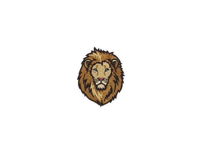 6cm Lion Face Mini Urban Mordern Machine Embroidery File design 4x4 inch hoop