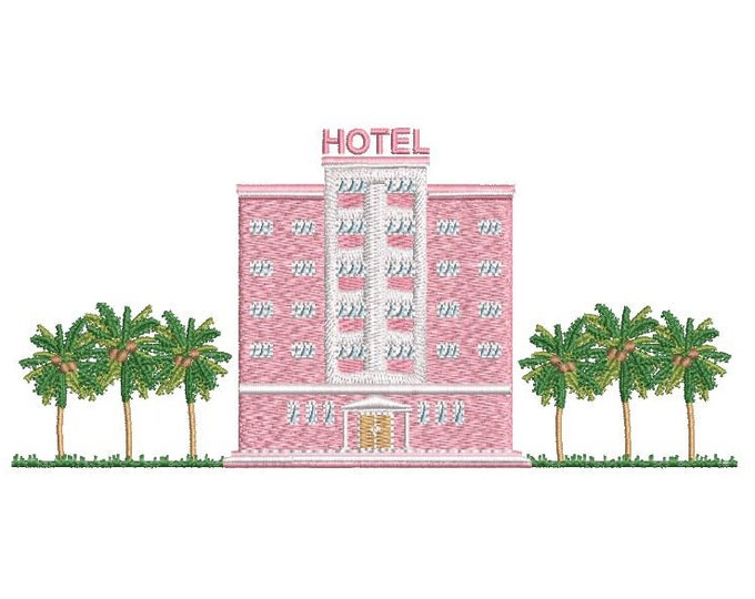 Pink Hotel Palm Trees Machine Embroidery File design  - 6x10 inch hoop - Instant download