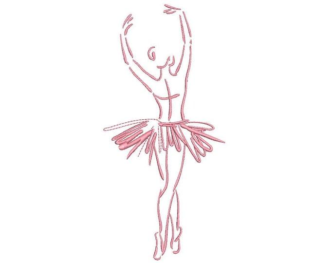 Ballerina Ballet Dancer Sketch Machine Embroidery File design 5x7 hoop - one colour