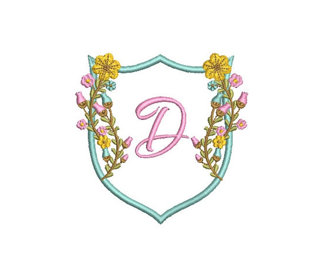 Featured listing image: Pretty Flower Crest Machine Embroidery File design 4x4 inch hoop - Monogram Frame - Floral Crest