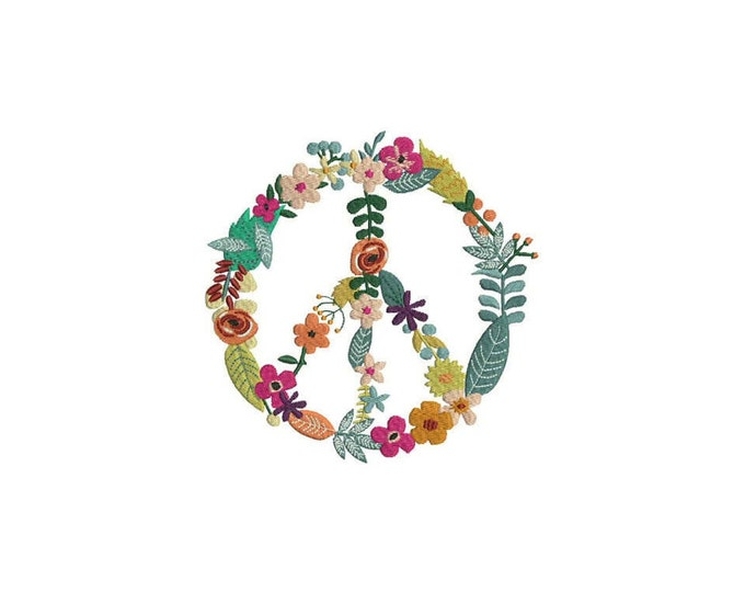Machine Embroidery Whimsical Peace Flower Wreath Machine Embroidery File design 6x10 inch hoop