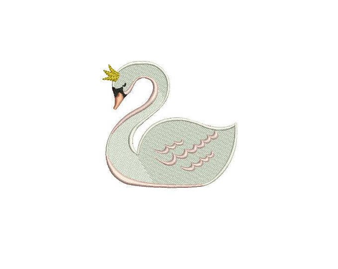 Simple 6cm White Swan Machine Embroidery File design 4x4 inch or 10cm x 10cm hoop