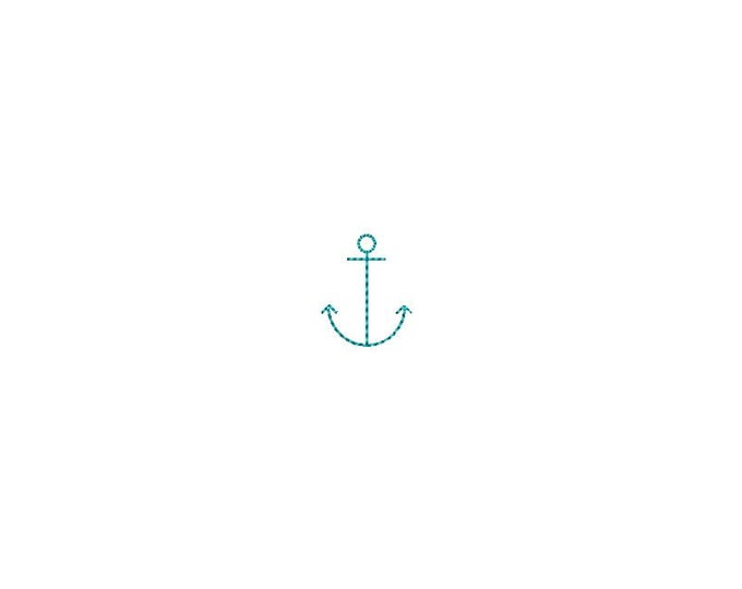 Mini Line Anchor 2.5cm Machine Embroidery File design - 4 x 4 inch hoop - Anchor Silhouette - instant download