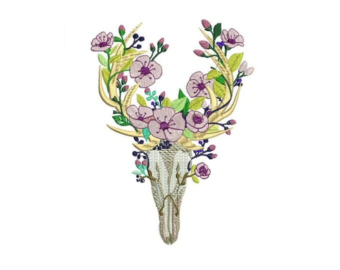 Boho Flower Deer Skull Bohemian Machine Embroidery File design 5x7 hoop