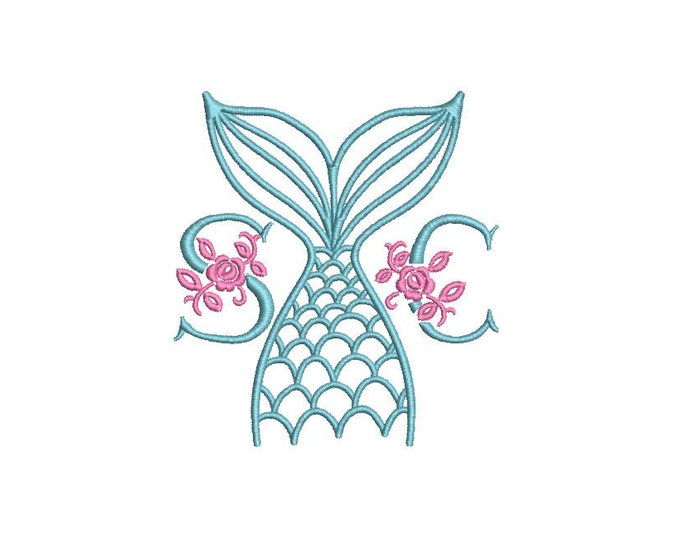 Mermaid Tail Embroidery Design - Mermaid Machine Embroidery File design - 4x4 inch hoop