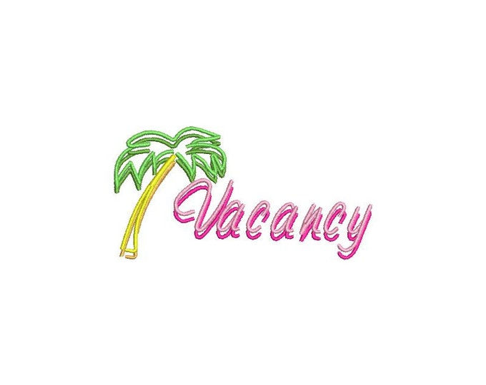 Neon Palm Tree Motel vacancy  - 3D Neon Sign - Machine Embroidery File design 4 x 4 inch hoop
