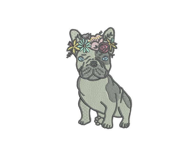 French Bulldog Embroidery - Machine Embroidery Frenchie Dog Flowers Machine Embroidery File design 4x4 inch hoop Frenchie Embroidery