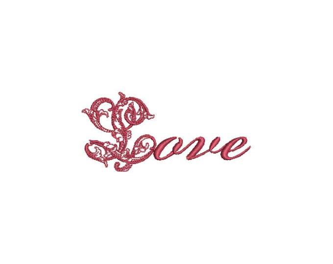 Romantic Love Embroidery -  Machine Embroidery File design - 4x4 inch - valentines embroidery design