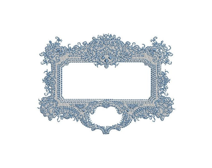 Baroque Rectangle Frame - Machine Embroidery File design - 4x4 inch hoop - Monogram Frame