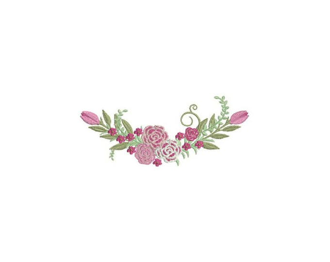 Machine Embroidery Roses Wreath Machine Embroidery File design 5 x 7 inch hoop