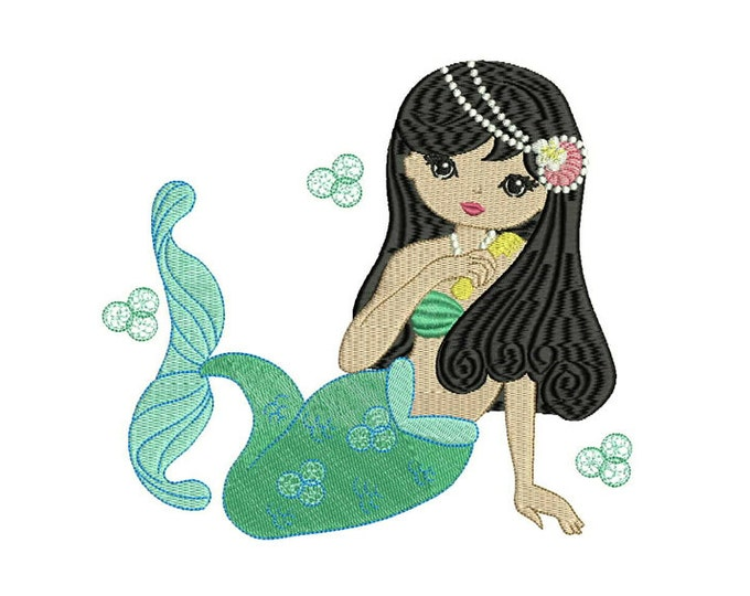 Mermaid Machine Embroidery File design - 7x12 inch or 18x30cm hoop mermaid in the hoop embroidery - instant download