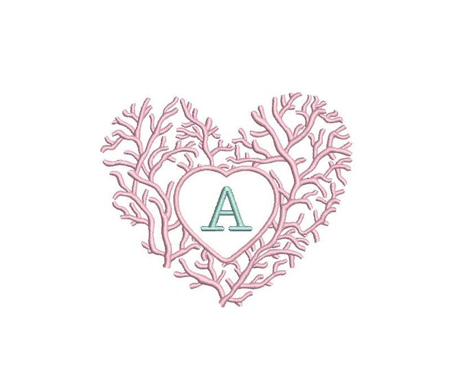 Chinoiserie Chic - Coral Heart Monogram Frame - Machine Embroidery File design - 4x4 hoop - Instant Download