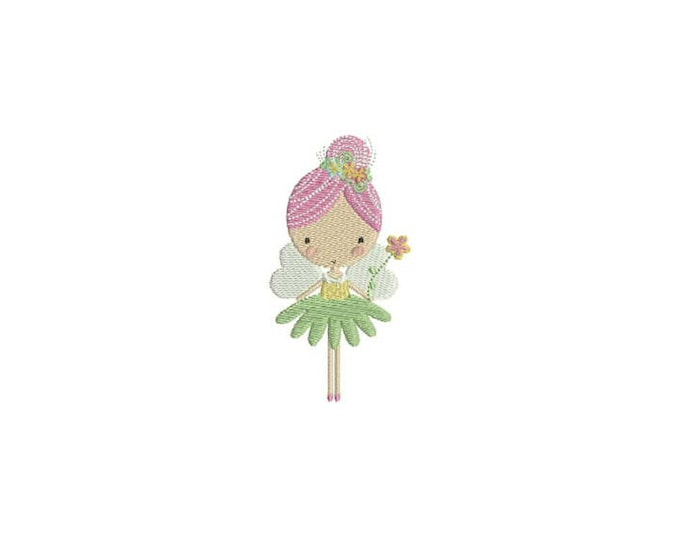 Flower Fairy Doll Machine Embroidery File design 4x4 inch hoop - Flower Fairy 1