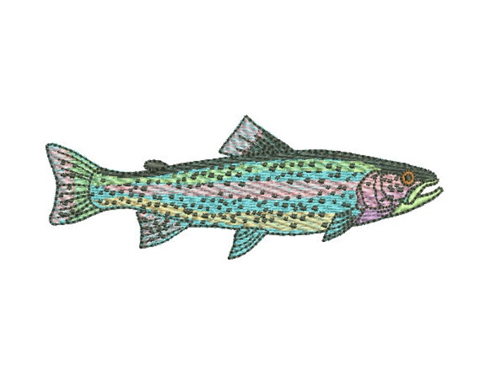 Rainbow Trout Machine Embroidery File design - 4x4 inch hoop - Fish Design - Fish Embroidery