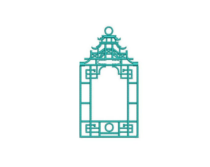 Chinoiserie Chic Monogram Pagoda Frame #1 Machine Embroidery File design 4x4 hoop - Instant download