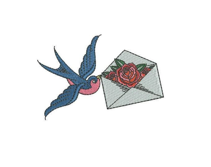 Rose & Swallow Bird embroidery - Love Note Tattoo Retro Machine Embroidery File design 4 x 4 inch hoop - Valentine