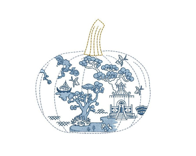 Chinoiserie Chic - Pumpkin Machine Embroidery design - 5x7 hoop - instant download
