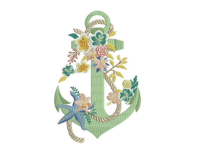 Anchor Embroidery - Machine Embroidery Bohemian Anchor Flowers Starfish Machine Embroidery File design 6x10inch hoop