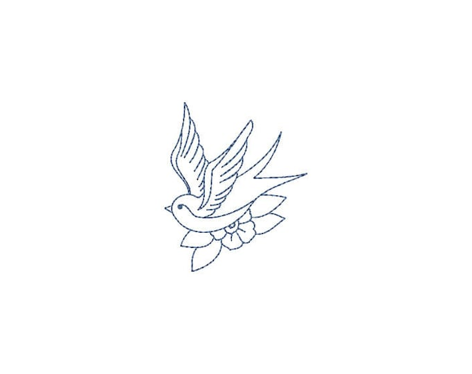 Retro Swallow Bird Tattoo Linework Machine Embroidery File design 4 x 4 inch hoop - Redwork