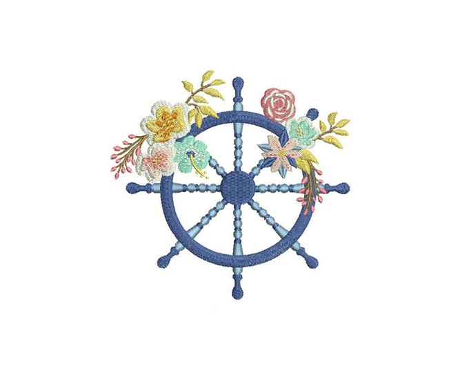 Bohemian Nautical Ship Wheel Flowers Machine Embroidery File design 5x7 inch hoop instant download