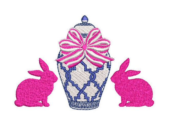 Chinoiserie Chic Ginger Jar Bunnies Embroidery - Machine Embroidery File design 5x7 hoop - Easter Embroidery Design