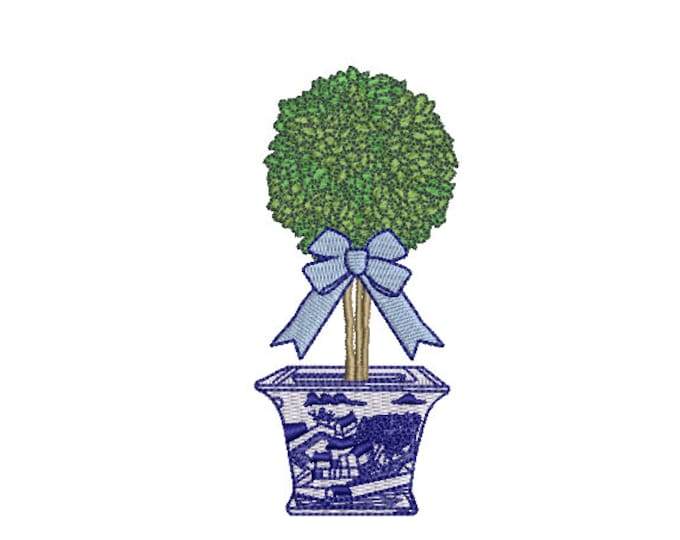 Chinoiserie Topiary Embroidery - Blue Willow - Machine Embroidery File design - 4 x 4 inch hoop - Instant Download