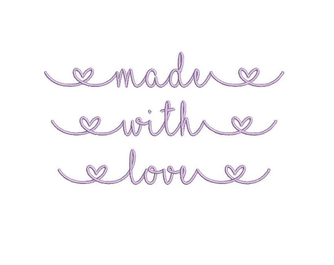 made with love - Machine Embroidery File design - 5x7 hoop - Instant download