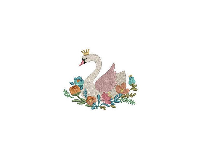 Swan with flowers Machine Embroidery File design 4x4 hoop