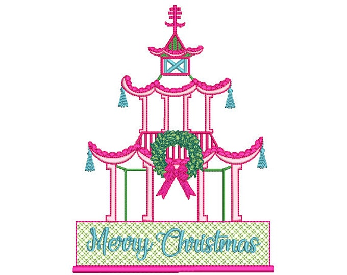 Chinoiserie Chic - Merry Christmas Pagoda - Machine Embroidery File design - 6x10 hoop