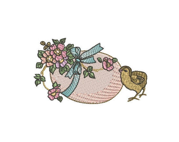 Vintage Easter egg and chick - Machine Embroidery File design - 4x4 inch hoop - Easter Embroidery
