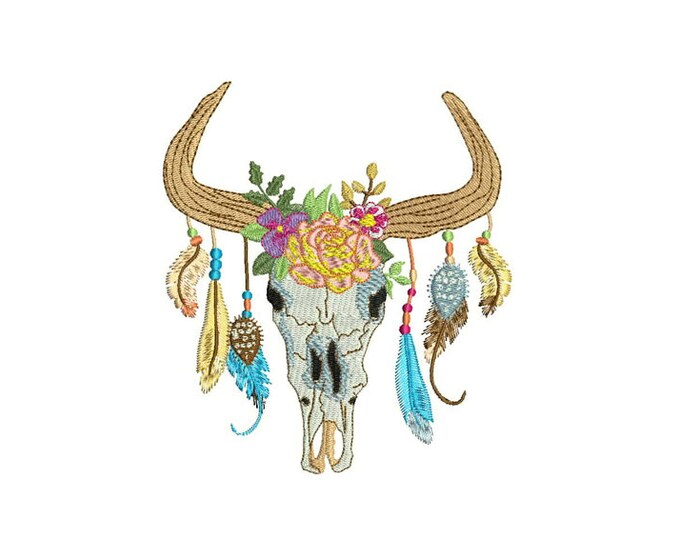 Machine Embroidery Boho Gypsy Skull With Feathers Bohemian Machine Embroidery File design 5x7 hoop
