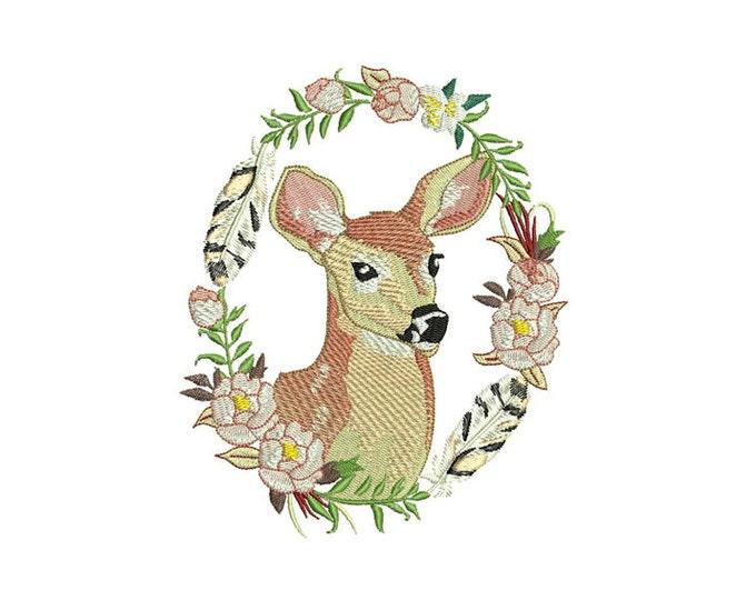 Deer Embroidery - Boho Deer Wreath Flowers Bohemian Machine Embroidery File design 5x7 hoop - instant download
