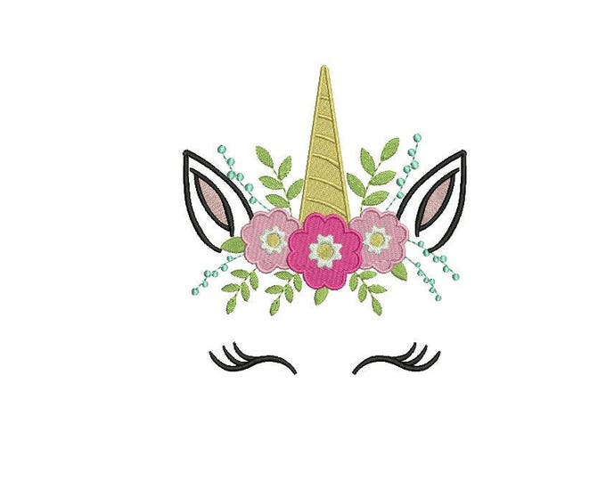 Machine Embroidery Unicorn Face Flowers Machine Embroidery File design 6x10 inch hoop