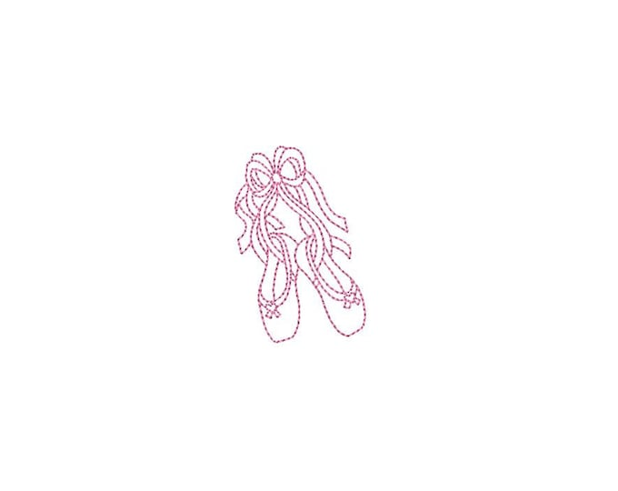 Mini Ballet Slippers-  Machine Embroidery File design 4x4 hoop - instant download - mini embroidery design