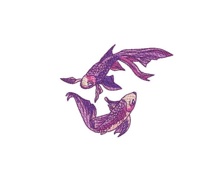 Watercolour Koi Fish Machine Embroidery File design - 4x4 inch hoop - Koi Design