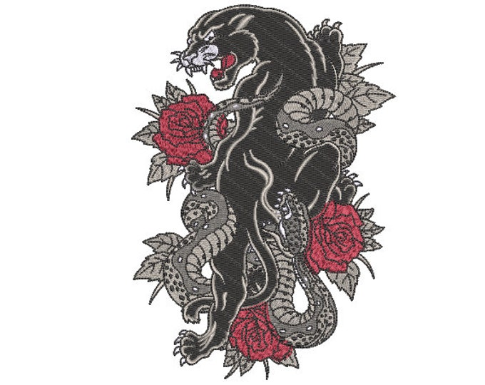 Panther Roses Embroidery Design -  Urban Modern Machine Embroidery File design - 5x7 inch hoop - instant download
