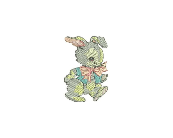 Vintage Bunny In Blue Jacket Machine Embroidery File design 4 x 4 inch hoop